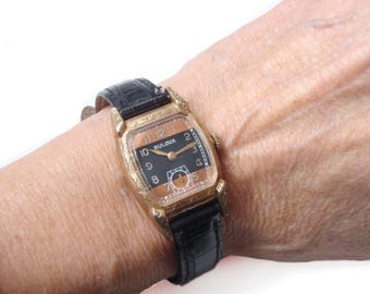 1930s Bulova Watch - Two Tone Dial - Fancy Etched Case - Sub Seconds - Art Deco - Ladies Watch - Mens Watch - Gift for Her - Gift for Him