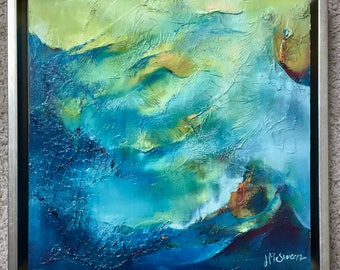 Waving Abstract Oil Charleston SC Ocean in Blue Turquoise