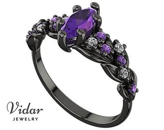 Amethyst Engagement Ring,Black Gold Engagement Ring,Unique Engagement Ring,Marquise Engagement Ring,Vintage Engagement Ring,Custom Ring