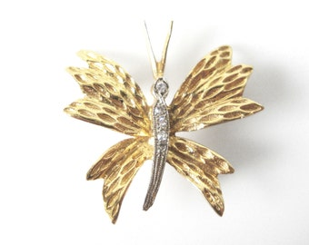 14K Gold Butterfly Brooch Set With Diamonds