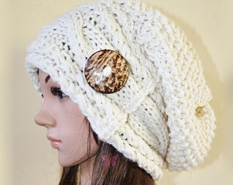 Slouchy Deluxe cable beanie hat with button - CREAM - Paypal FREE SHIPPING - Oversized - handmade - baggy - gift - Christmas - Wool - Woolen