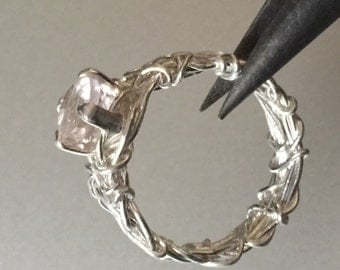 Rose Quartz Engagement Ring, Filigree Ring, Rustic Wedding, Steampunk Wedding Ring, Unique Engagement Ring, Affordable Engagement