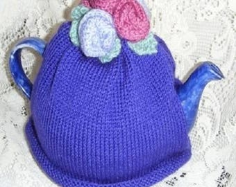 TEA COSY - Hand Knitted Cosy - ROSE Tea Cosy - Knitted Cozies - Knitted Tea Cosies -