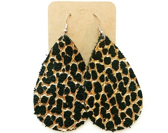 Black and Gold Cracked Leather Teardrop Earring, leather statement earring, metallic gold and black earring