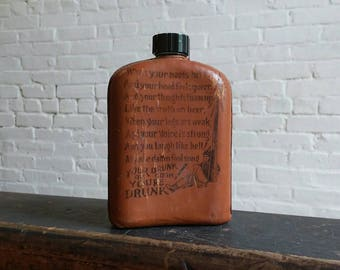 Vintage leather glass flask with poem