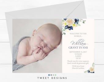 BIRTH ANNOUNCEMENT BOY, Boy Birth Announcement, Baby Thank you Card, Thank you Card Baby Boy, Printable Birth Announcement, Boy Baby Card