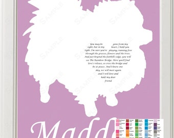 Personalized Pomeranian Silhouette Pomeranian Love Rainbow Bridge Poem Pet Memorial 8 X 10 Print Pomeranian Dog Memorial