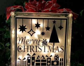 Merry Christmad Lighted Glass Block