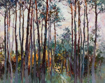 """Morning pine forest - Landscape painting 25.5"""" x 33.4"""" Ready to hang, Fine art by Valiulina"""