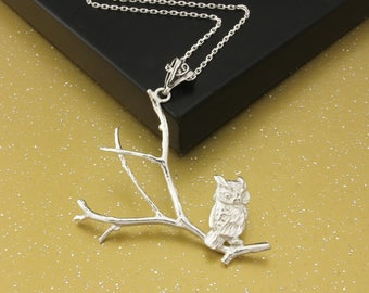 Owl on a Branch Necklace.