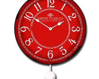 Red & White Pendulum Wall Clock
