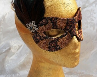 Bronze Brocade Masquerade Mask, Bronze Black Gold Brocade and Leather Masquerade Mask