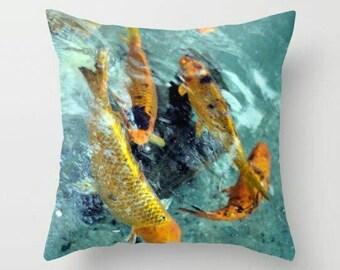 Koi Fish Throw Pillow - Koi Fish Decorative Pillow
