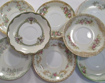 Vintage Mismatched China Saucers, Bridal Shower, Wedding, Tea Party, Tea Plates, Luncheon, Garden Party, Tea Plates - Set of 8