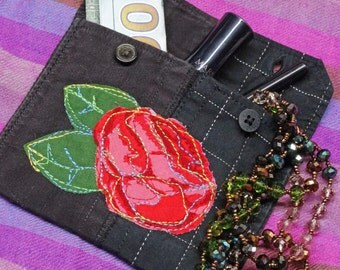 Gift Card Holder,Jewelry Pouch,Money Pouch,Upcycled Clothing Pouch,Textile Art Pouch