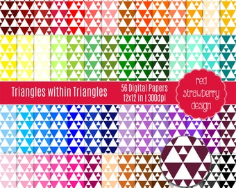75% OFF Sale - 56 Digital Papers - Triangles within Triangles - Instant Download - JPG 12x12 (DP288)