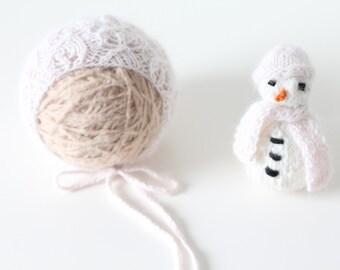 Newborn snowman - Newborn props - Newborn girl - Photo prop - Snowman toy - Photography prop - Baby girl props - Newborn set -Pale pink