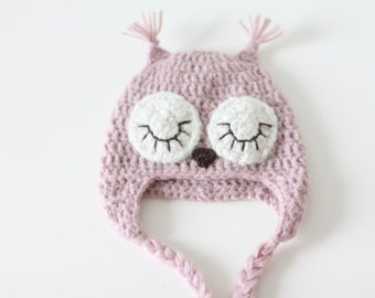Newborn girl owl - Baby Girl Hat - Newborn props - Baby girl photo prop -  Newborn owl - Baby girl hat - Photo prop hat - Baby girl props