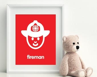 FIREMAN Nursery Art Print - art poster - nursery art - child's room decor