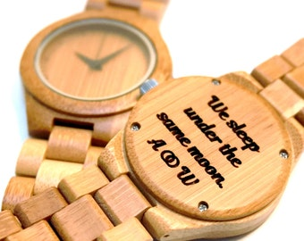 Personalized bamboo wooden watch - engraved with text - Gift for Him/Her, Anniversary, Wedding gift, Groomsmen / bridesmaid