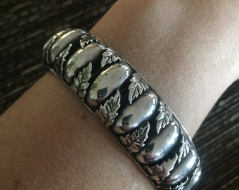 """Stunning Sterling Silver Signed """"Vaughn's Sterling"""" Navajo Cuff Bracelet Etched Layaway Available"""