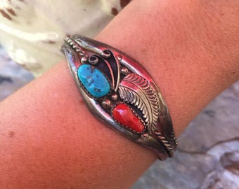 Signed EE Unique Navajo Sterling Silver Coral and Turquoise Bracelet Cuff