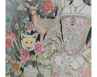 Anne Boleyn  Print, Tudor, England, Henry VIII, with queen, flowers, foxes, Roses, Deer, Falcon   by Belinda Maria Longsden