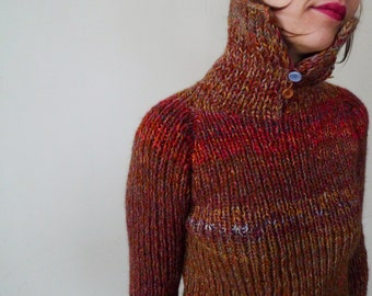 Handmade english red and brown striped wool sweater
