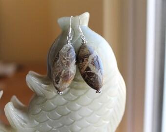 Beautiful Snakeskin Jasper Earrings, sterling silver hook 01