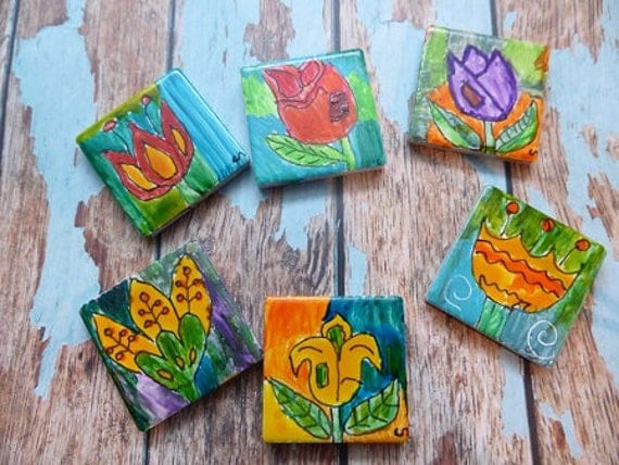 Mosaic Tiles, Handpainted Tiles, Ceramic Handpainted Tiles, Abstract Tiles,  Floral Tiles,Mosaics.Garden Art.Australia From BOWERBIRDMOSAICS On Etsy  Studio