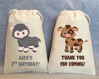 "8- Farm Animal birthday, Farm animal baby shower, farm birthday party, farm animal party supplies, farm party, farm animal party bags,5""x8"""