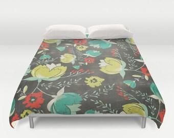 Trendy Duvet Cover, Artsy Duvet, Floral Duvet, Flowers Duvet, Modern Duvet, Trendy Comforter, Artist Comforter, Contemporary Duvet, Hipster