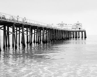 Malibu Photography Print Black and White Pier Beach Decor Minimalist California Ocean Nautical Coastal Style Surf Seascape Los Angeles Art