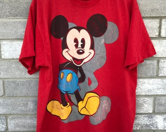 90s oversized disney red mickey mouse t shirt