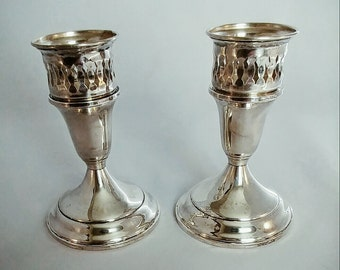 Sterling Silver Candlestick Holders Towle Weighted Reinforced