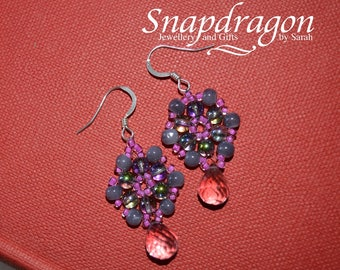 Hot pink and lilac beaded flower earrings with sterling silver earwires