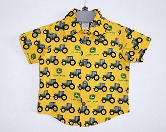 Boys Shirt, Boys Top, Shirt, Top, Button Up Shirt, Boys Clothing, Boys wear, Childrens Shirt, Childrens Clothing, John Deere, Tractor Shirt