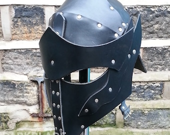 Elven Knight Leather Helmet for Larp or Cosplay