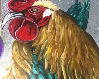 Tin Rooster Painting