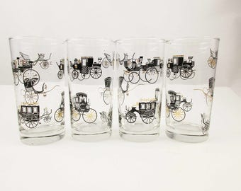 Set of Four Glasses With Gold, Black and White Antique Cars - Drinking Glasses -  10 Oz. Water Glasses - Mint Condition
