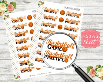 H190 Basketball Game Planner Stickers - Basketball Practice Stickers - Basketball Stickers - Sports Stickers - Game Day Stickers