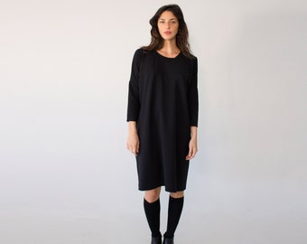 Womens Sweater Dress, Black Loose Dress, Black Dress, Oversized Clothing, Minimalist Dress, Cocktail Tunic Dress, Long Sleeve Dress