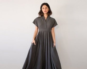 SALE - Avant Garde Dress, Gray Maxi Dress, Fit Flare Dress, Avant Garde Clothing, Maxi Dress, Romantic Women's Dresses, Linen Dress, ...