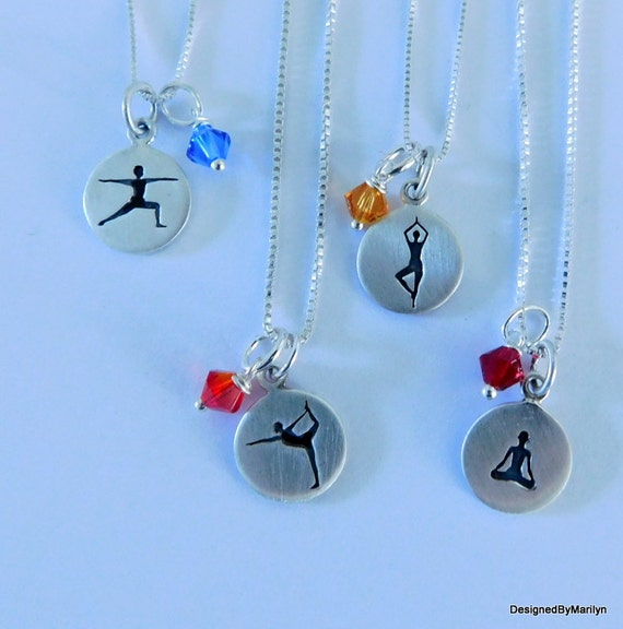 Yoga necklace, meditation jewelry, sterling silver meditation/yoga poses, dance pose, tree pose, warrior pose, sitting pose
