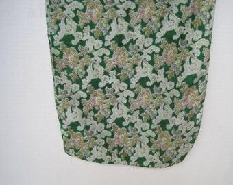 Vintage Silk Scarve Green Print Rectangle Scarve