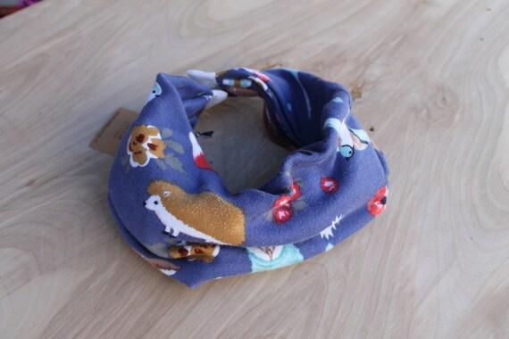 Baby infinity scarf bib- blue woodland animals- scarf bib- scabib- hipster baby scarf- infinity scarf baby bib- deer fox hedgehog owl baby