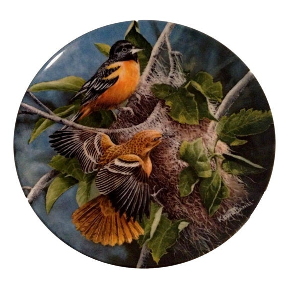 Knowles China Vintage Porcelain Collector Plate Baltimore Orioles, Birds Kevin Daniel - Collectible Plate Mid Century 1950s Made in USA