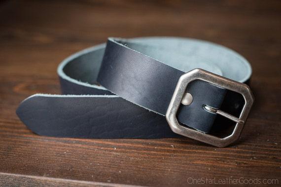 """Custom sized belt - 1.25"""" width - Horween Dublin leather - center bar buckle - cobalt blue"""