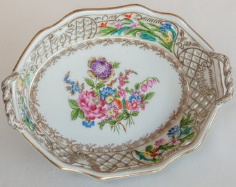 Vintage UW 1897 Porcelain Lattice Basket with Flowers Manufactured by United Wilson Porcelain Company Factory of Hong Kong