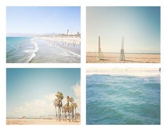 Santa Monica Beach Photography, California Los Angeles  Set of 4 Prints Nursery Decor Beach Photography Set the artisan group baby